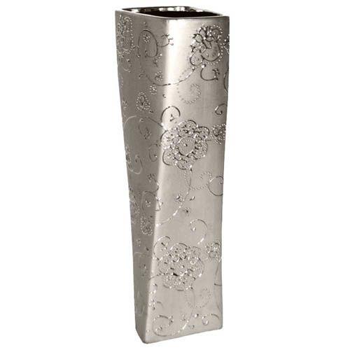 Серебристая высока ваза Eterna с рельефным изящным рисунком 38 см, фото