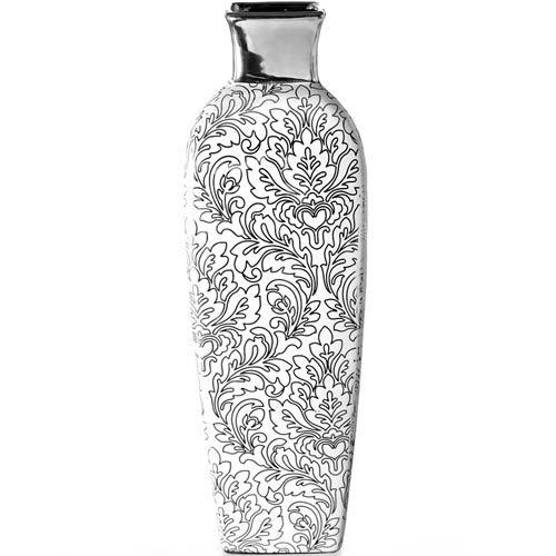Ваза Eterna с ажурным серебристым рисунком глянцевая 37 см с зауженным горлышком, фото