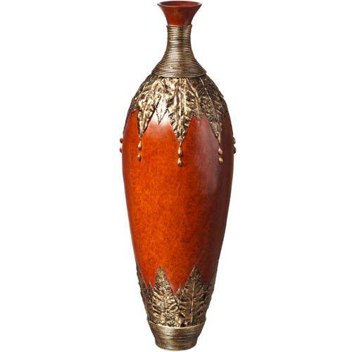 Большая ваза-декор Eterna 60 см с имитацией красного дерева и бронзовой чеканки, фото