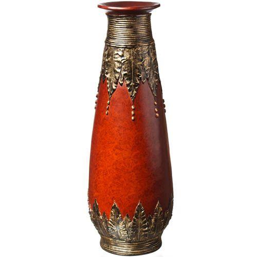 Напольная ваза-декор Eterna 60 см с имитацией красного дерева и бронзовой чеканки, фото