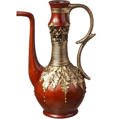 Декоративная ваза-чайник Eterna 53 см с имитацией красного дерева и бронзовой чеканки, фото
