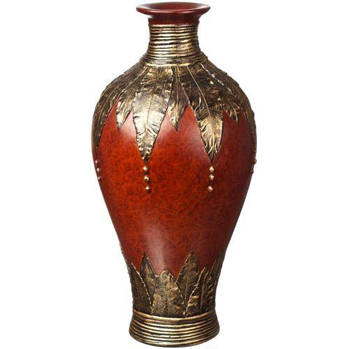 Ваза-декор Eterna 44 см с имитацией красного дерева и бронзовой чеканки, фото