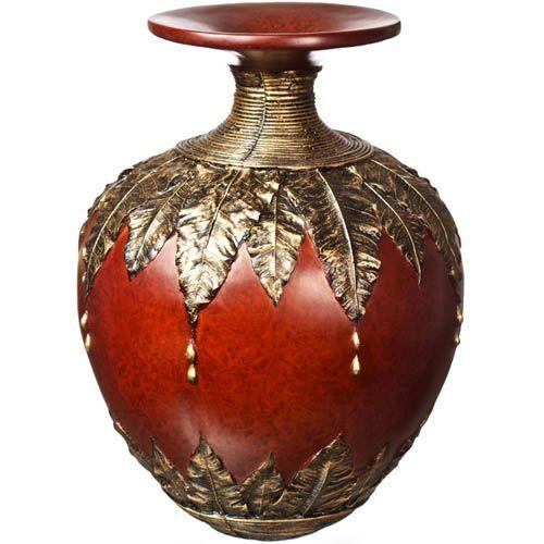 Круглая ваза-декор Eterna 39 см с имитацией красного дерева и бронзовой чеканки, фото