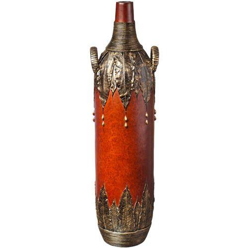 Напольная ваза с ручками Eterna 60 см с имитацией красного дерева и бронзовой чеканки, фото