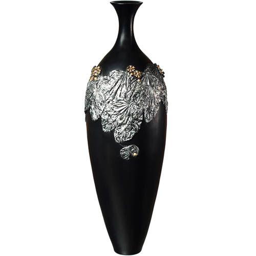 Изящная ваза-декор Eterna 60 см черная с объемной лепкой под металл, фото