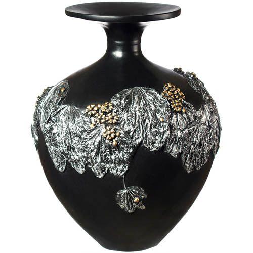 Круглая ваза-декор Eterna 39 см черная с объемной лепкой листьев винограда, фото