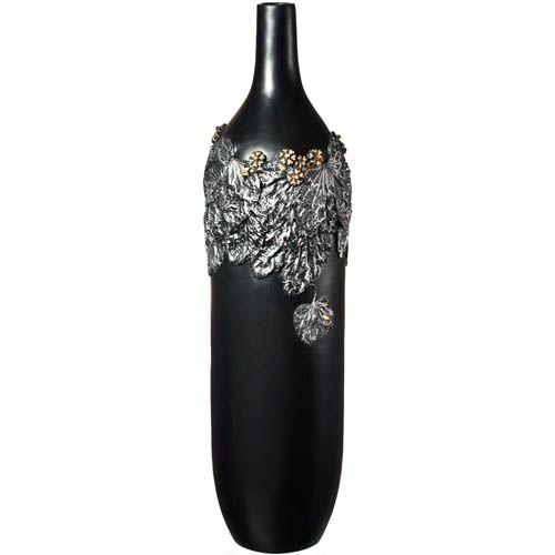 Ваза-бутылка Eterna 66 см черная с объемной лепкой под металл, фото