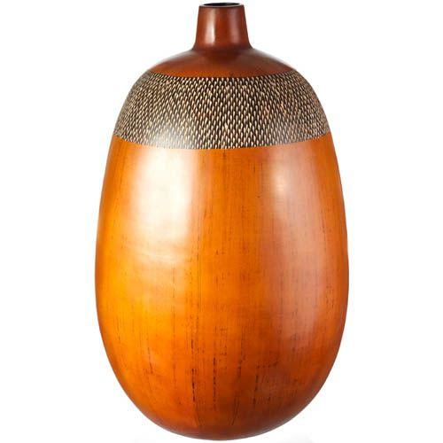 Ваза-декор Eterna 50 см светло-коричневая с имитацией фактуры дерева, фото