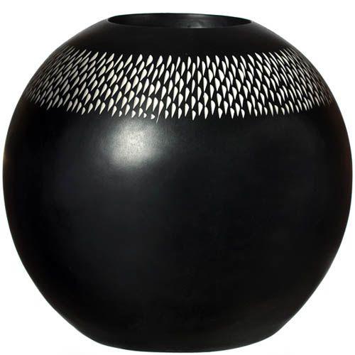 Ваза-шар Eterna 20 см черная с серебристыми насечками-декором, фото