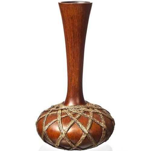 Ваза с высоким узким горлышком Eterna 50 см под дерево с имитацией плетеных веревочек, фото