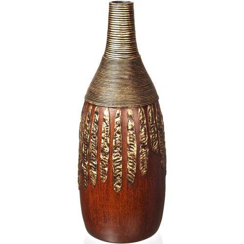 Декоративная ваза-бутыль Eterna 53 см коричневая с имитацией бронзовой чеканки, фото