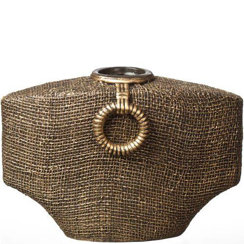 Ваза-декор в эко-стиле Eterna 22 см с имитацией фактуры холщевой ткани, фото