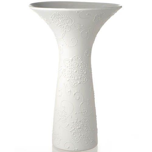 Белая ваза Eterna керамическая матовая с рельефным узором 30 см, фото