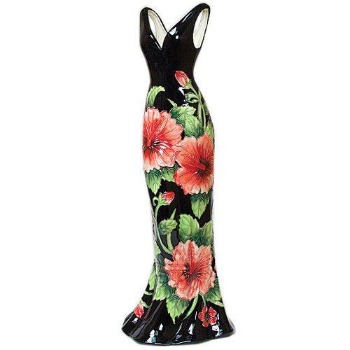 Ваза напольная Pavone Платье черного цвета 60 см, фото