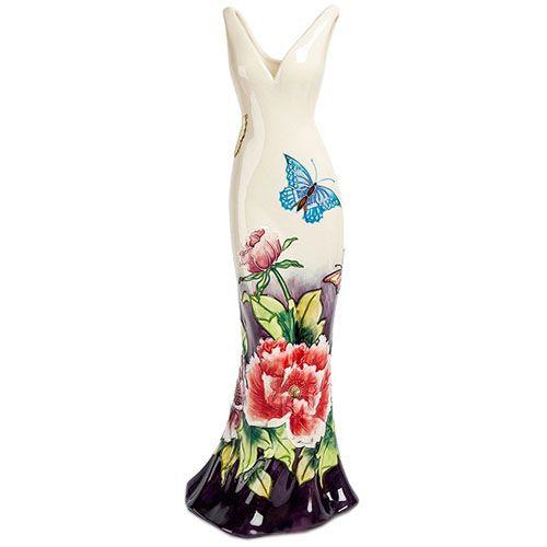 Ваза напольная Pavone Платье с цветами и бабочками 60 см, фото