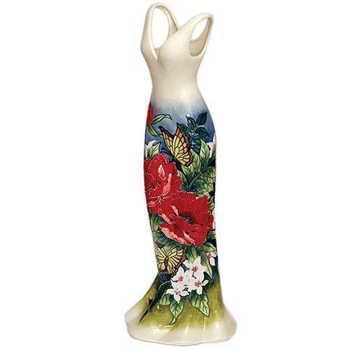 Ваза напольная Pavone Платье белого цвета с цветочным рисунком 60 см, фото