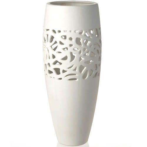 Керамическая белая ваза Eterna матовая высокая 43 см с ажурной вставкой, фото
