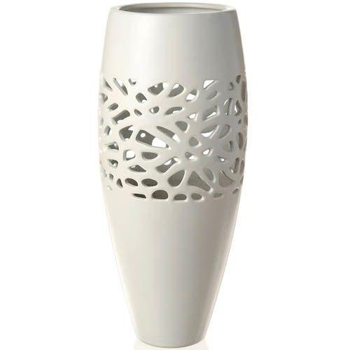 Керамическая белая ваза Eterna матовая средняя 35 см с ажурной вставкой, фото