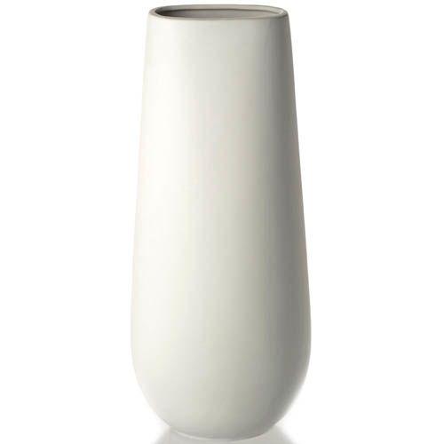 Ваза Eterna керамическая матовая белая лаконичная высокая 37 см, фото