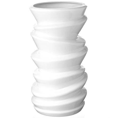 Белая ваза Eterna Волна глянцевая керамическая рельефная 24 см, фото