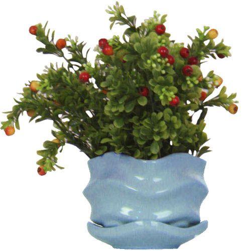Горшок для цветов Eterna Волна глянцевый керамический морская волна малый, фото