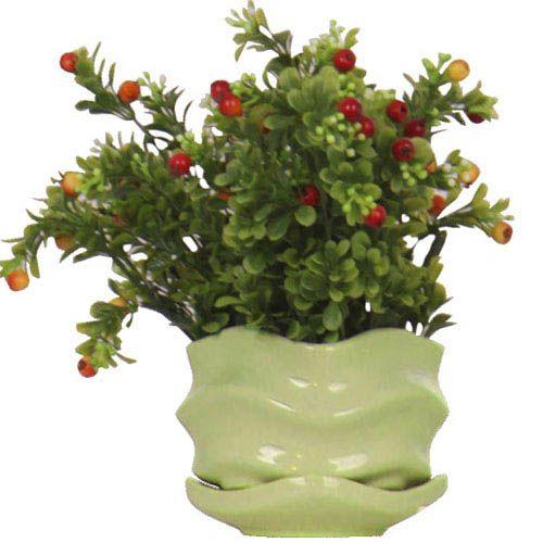Горшок для цветов Eterna Волна глянцевый керамический свежая зелень малый, фото