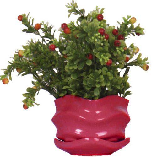 Горшок для цветов Eterna Волна глянцевый керамический сочная ягода малый, фото