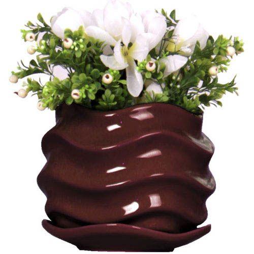 Горшок для цветов Eterna Волна глянцевый керамический горький шоколад, фото