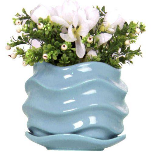 Горшок для цветов Eterna Волна глянцевый керамический морская волна, фото