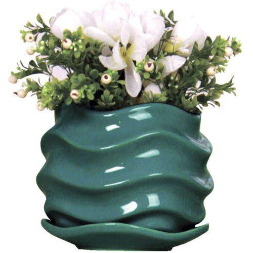 Горшок для цветов Eterna Волна глянцевый керамический глубокий морской, фото