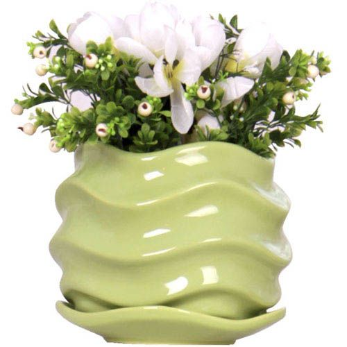 Горшок для цветов Eterna Волна глянцевый керамический свежая зелень, фото