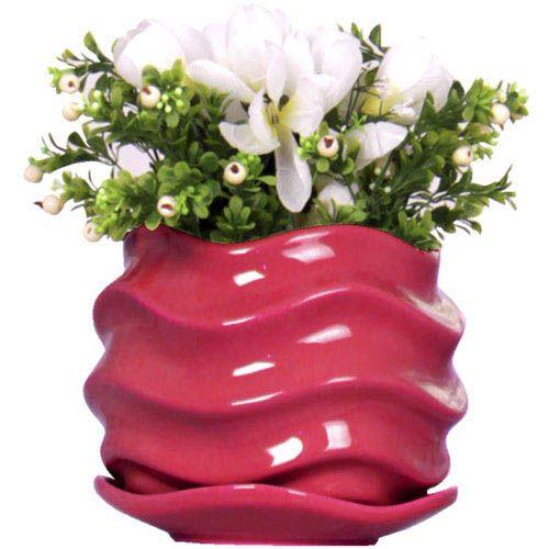 Горшок для цветов Eterna Волна глянцевый керамический сочная ягода, фото