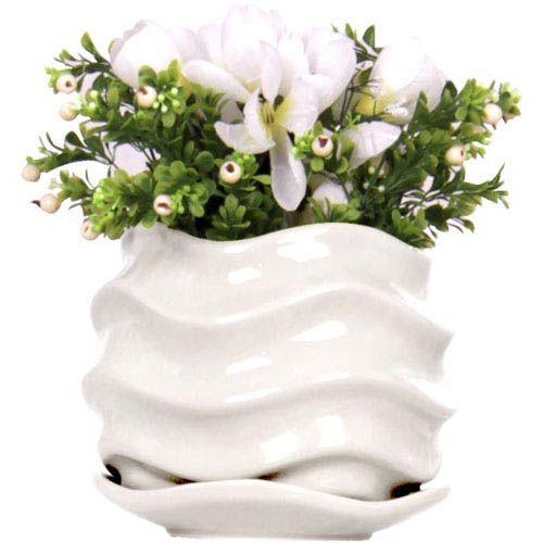 Горшок для цветов Eterna Волна глянцевый керамический молочный белый, фото