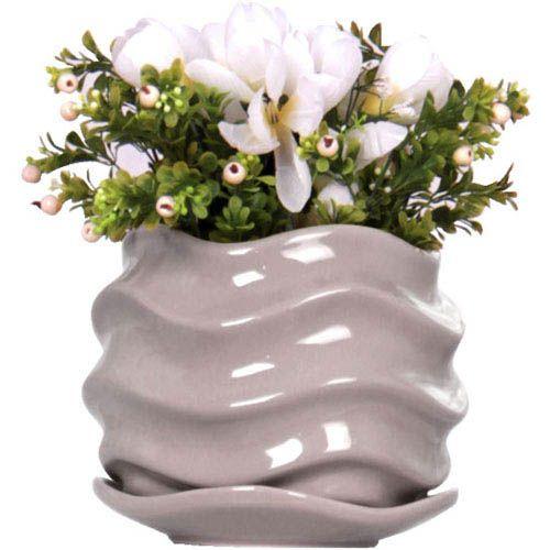 Горшок для цветов Eterna Волна глянцевый керамический морской камень, фото
