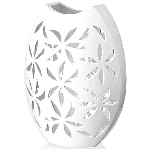 Белая ваза Eterna Ажур глянцевая керамическая овальная, фото