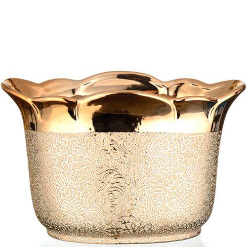 Золотистая ваза Eterna Восточный шелк маленькая широкая, фото