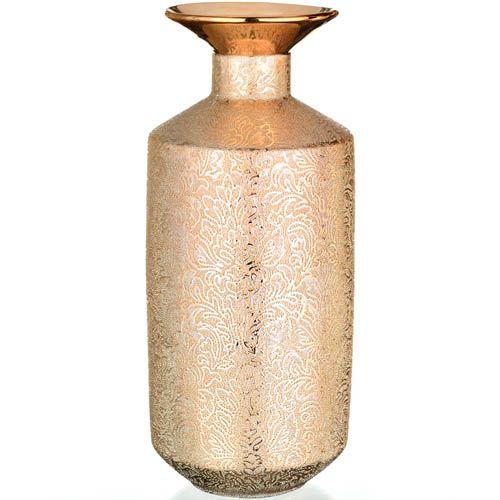 Золотистая ваза Eterna Восточный шелк с изящным узором, фото