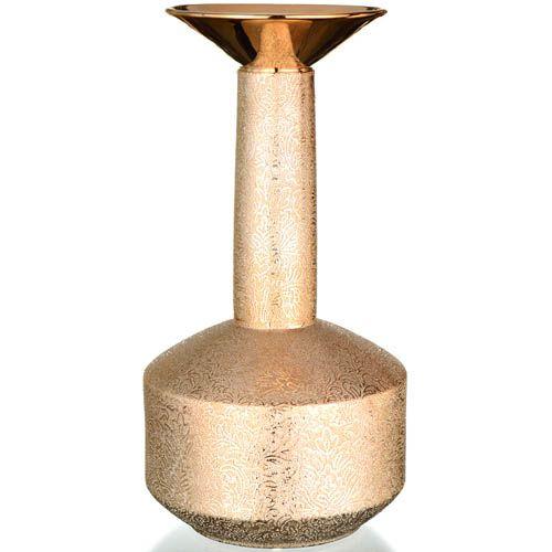 Ваза Eterna Восточный шелк золотистая высокая с узким горлышком, фото
