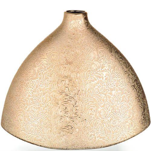 Золотистая ваза Eterna Восточный шелк с широким дном, фото