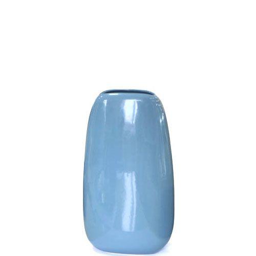 Плоская большая ваза Eterna Морские Камни голубая керамическая глянцевая, фото