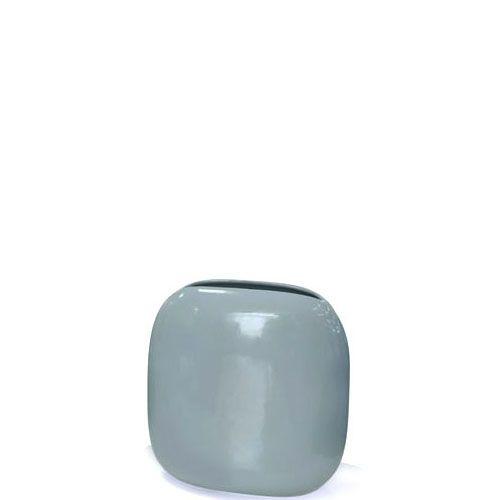 Плоская ваза Eterna Морские Камни серо-голубая керамическая глянцевая, фото