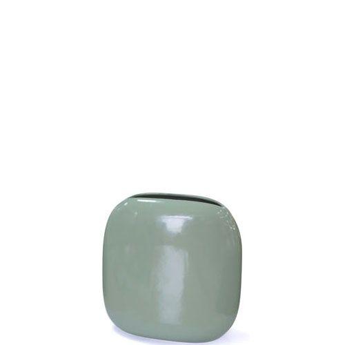 Плоская ваза Eterna Морские Камни серо-зеленая керамическая глянцевая, фото