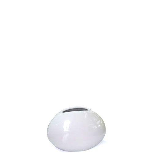 Плоская маленькая ваза Eterna Морские Камни белая керамическая глянцевая, фото