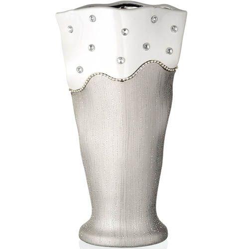 Большая серебристая ваза Eterna Гламур 36 см, фото
