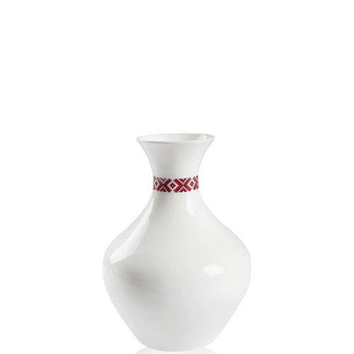 Белая ваза Eterna Ukraine глянцевая керамическая с украинским орнаментом на горлышке 28 см, фото