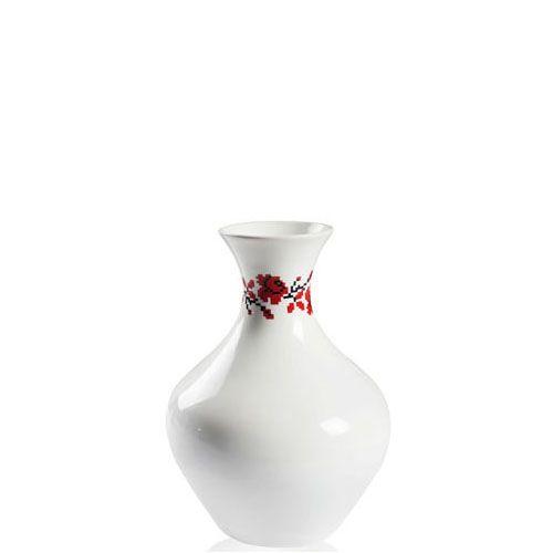 Белая ваза Eterna Ukraine глянцевая керамическая с украинским орнаментом с розами 28 см, фото