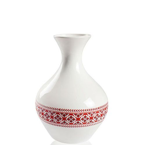 Белая ваза Eterna Ukraine глянцевая керамическая с украинским орнаментом высотой 32 см, фото