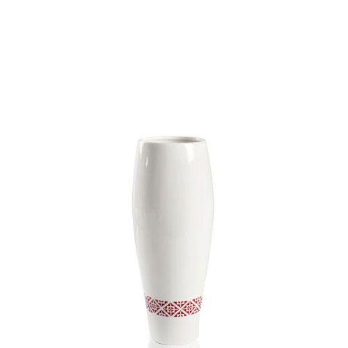 Белая керамическая ваза Eterna Ukraine глянцевая узкая высотой 33 см с украинским орнаментом по низу, фото