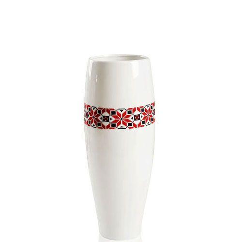 Белая глянцевая ваза Eterna Ukraine керамическая узкая высокая 42 см с украинским орнаментом, фото