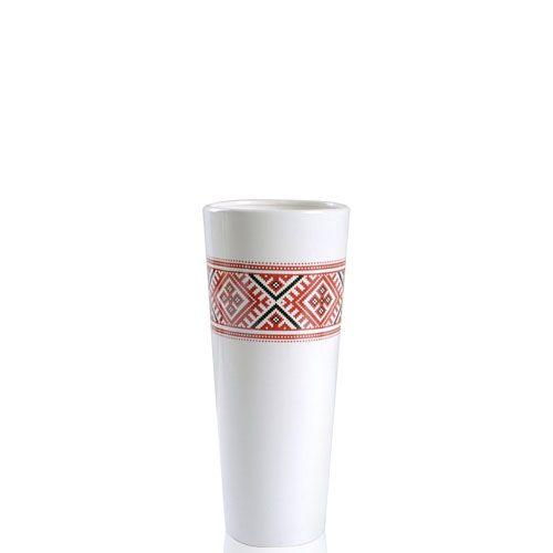 Белая глянцевая ваза Eterna Ukraine керамическая 30 см с украинским орнаментом на широком горлышке, фото